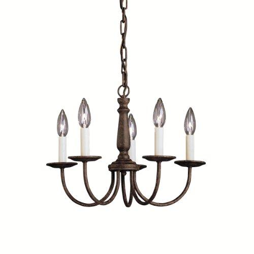 Brushed Five Nickel Light Colonial (Kichler 1770TZ Salem Mini Chandelier 5-Light, Tannery Bronze)