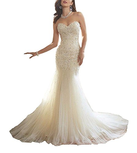 Nicefashion Women's Elegant Sweetheart Beaded Lace Sequins Mermaid Corset Wedding Dresses For Bride White (Dropped Waist Wedding Dress)