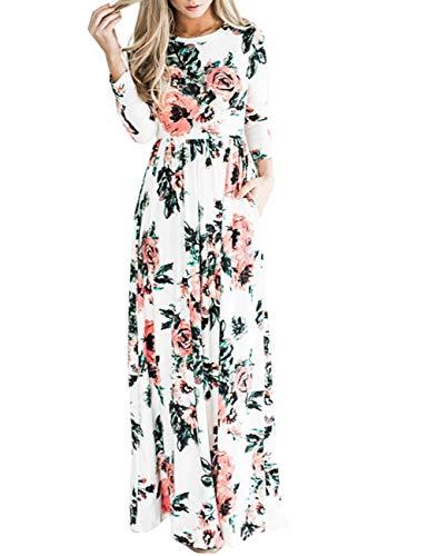 (Women Fashion Printed Long Dress Three Quarter Sleeve Retro Vintage Flower Casual Floor Length Maxi Dress (S-XXL) White)