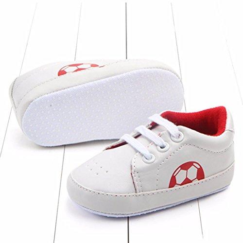 Football Rosso Scarpe 0 Passi Sneakers Bambine Pu Primi Suola Infantile Mesi Morbida 18 And6w7