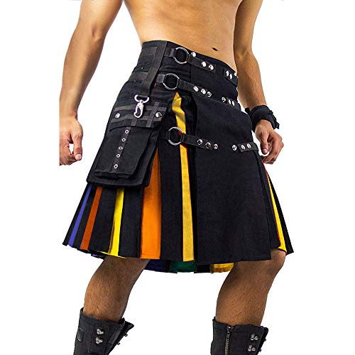 Mens Scottish Kilt Utility Irish Rainbow Traditional Highland Pleated Costume with Cargo Pockets