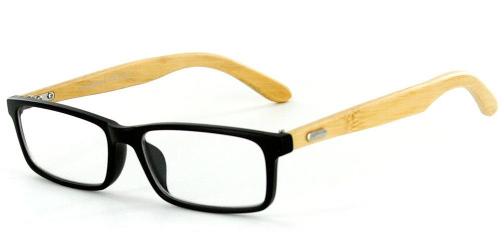Zen Temple Eco-Chic Wayfarer Reading Glasses with Natural Bamboo Temples Color Black, Power: 1.75