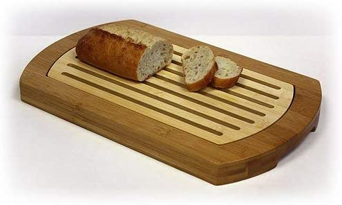 Simply Bamboo BICT Multi-Purpose Two-Tone Bamboo Bread Crumb Cutting Board//Serving Tray for Kitchen 16 x 10 x 1.25