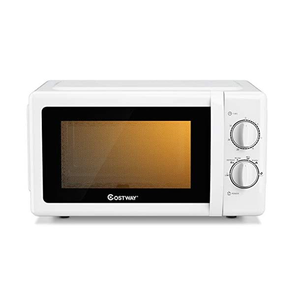 COSTWAY Retro Countertop Microwave Oven, 0.7 Cu. Ft, 700W Mechanical Compact Microwave Oven 6 Micro Power Settings… 1