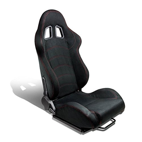 Type-One Luxury Suede Sport Racing Seat with Red Stitch (Black, (Racing Seat Sport Type)
