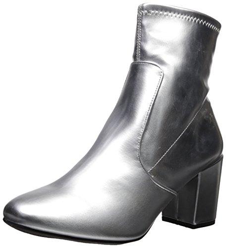 Fashion Women's Block Heel Itsie Bootie Dress Silver Boot Rampage Metallic Ankle Stretch 8qEd1x5n