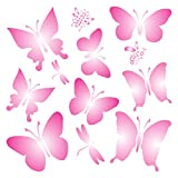 """wall paint ideas BUTTERFLIES STENCIL (size 7""""w x 7""""h) Reusable Stencils for Painting - Best Quality Scrapbooking Valentines Ideas - Use on Walls, Floors, Fabrics, Glass, Wood, Posters, and More…"""