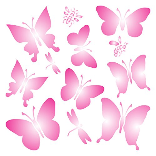 """BUTTERFLIES STENCIL (size 7""""w x 7""""h) Reusable Stencils for Painting - Best Quality Scrapbooking Valentines Ideas - Use on Walls, Floors, Fabrics, Glass, Wood, Posters, and More…"""