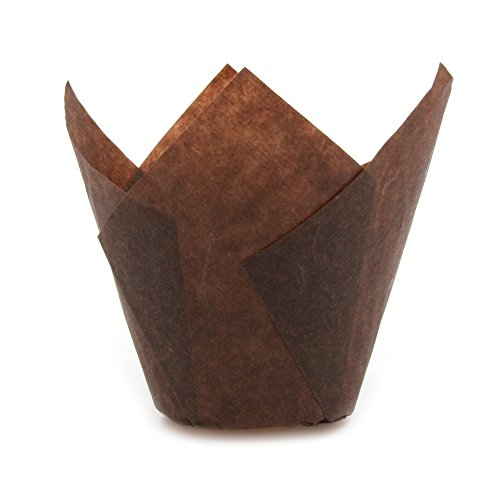 Tulip Cupcake Liner Brown Paper Baking Cups easy Release Muffin cup / No need To Spray Cup Perfect for Baking Muffins and Cupcakes, Extra Large Size: Tip H 2 -23 / 64