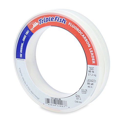 Triple Fish 60 lb Test Fluorocarbon Leader Fishing Line, Clear, 0.80 mm/50 yd For Sale