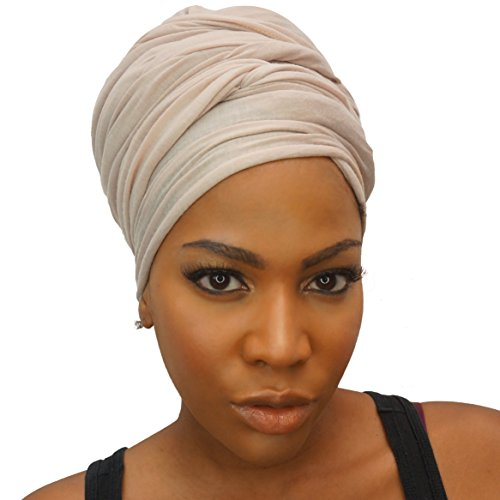 Headwrap in Stretch Jersey Knit - Long Head wrap Scarf - Cream by The Urban Turbanista
