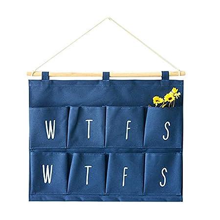Milnut H/ängeorganizer Wand H/ängenden 8 Grids Kleinigkeiten Gadgets Wandbehang Aufbewahrungstasche Multifunktionale Wohnzimmer Schlafzimmer Badezimmer H/ängenden Tasche Blau