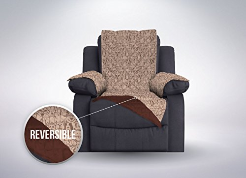 The Original SOFA SHIELD Reversible Furniture Protector, Features Elastic Strap (Recliner: Dog/Chocolate) (Chenille Fabric Loveseat)