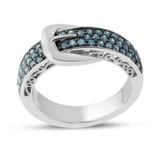 Buckle Ring Diamond (Sterling Silver Blue Diamond Buckle Ring (1/2 CTTW))