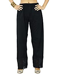 Cotton Lycra Embroidered Solid Harems Palazzo Women Casual Wear Pants