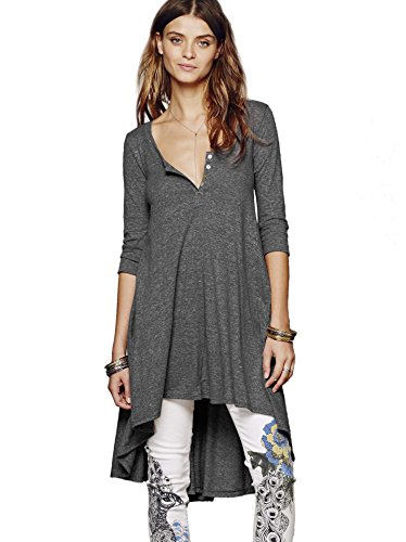 - Urban CoCo Women's Half Sleeve High Low Loose Casual T-Shirt Top Tee Dress (Large, Dark Grey)