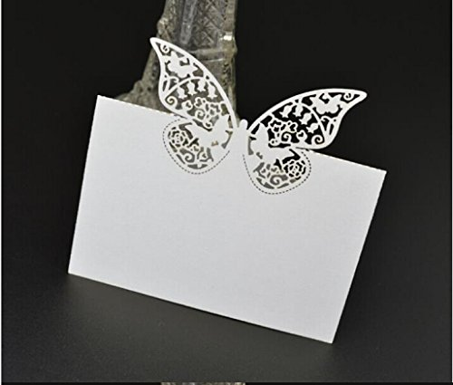 Worldoor Pack of 48 Laser Cut Butterfly Vine Wedding Table Number Name Place Card Wedding Party Decoration Favor/Laser Cut Butterfly Pattern Paper Place Card Guest Name Number Holder Wedding Banquet Table Decoration