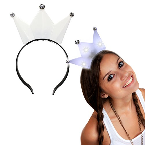 White LED Light Up Crown Headband for Girls Costume -