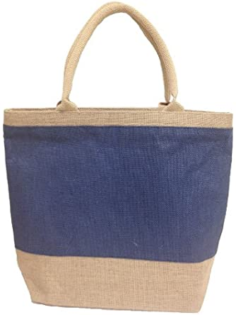 Natural Blue Jute/ Burlap Tote Bag with Zippered Closure Cotton Webbed Handles - Presidents Day Sale