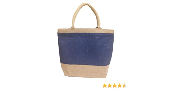 45009c95e8b Amazon.com: Natural Blue Jute/Burlap Tote Bag with Zippered Closure Cotton  Webbed Handles - CarryGreen Bags: Reusable Grocery Bags: Kitchen & Dining
