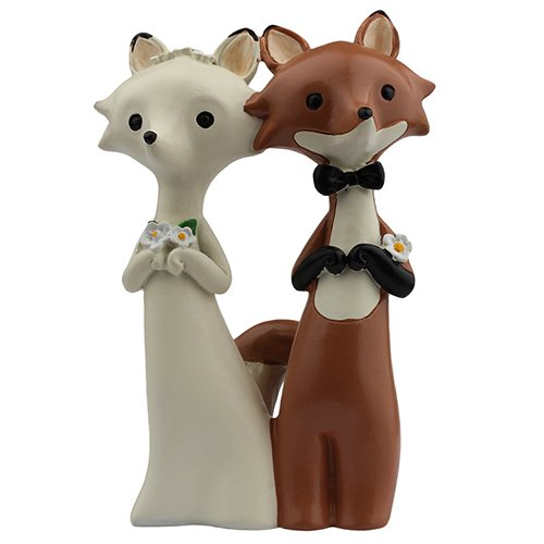 Funny Fox Wedding Cake Topper, Red Fox and White Fox, Unique keepsake for your rustic woodland wedding cake