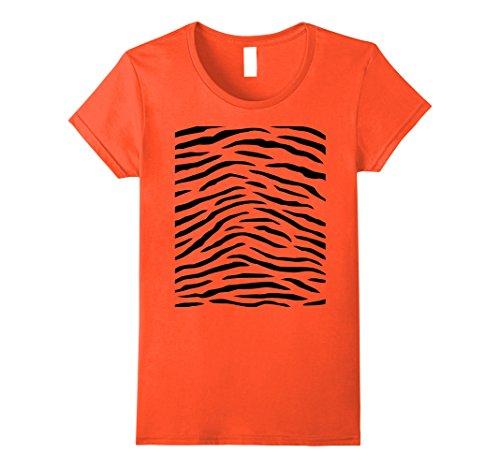 Womens Tiger Print - Easy Halloween Costume Idea - Tee Shirt Small Orange