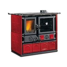 "Wood Burning Cook Stove La Nordica ""Rosa Maiolica Bordeaux"", w/ Wood Baking Oven"