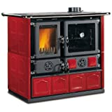 "Wood Burning Cook Stove La Nordica ""Rosa Maiolica Bordeaux"", w/ Wood Baking Oven"