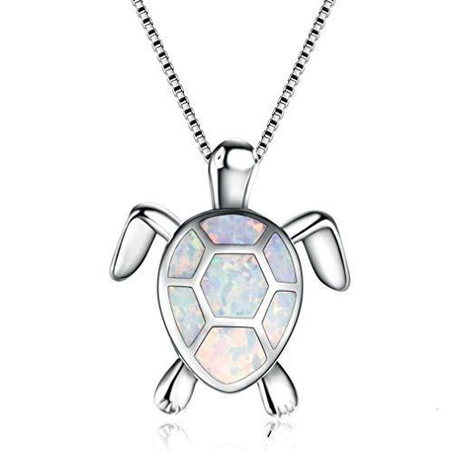 Meoliny Sea Turtle Pendant Necklace Created Opal Necklace Jewelry for Women -