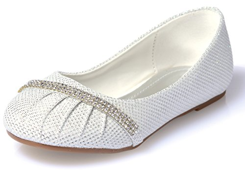 Link Little Girls Rhinestone Ballet Ballerina Glitter Flat Shoes, white by Link