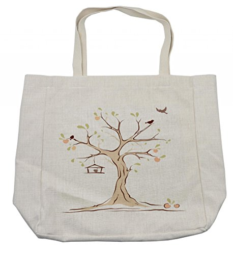 Ambesonne Tree of Life Shopping Bag, Mature Apple Tree with