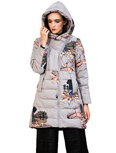 Mordenmiss Women's Long Sleeve Zipper Closure Printed Down Jacket Coat Style 1 Grey L
