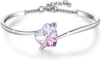"""❤️cadeau de maman❤️""""Histoire d'amourrose"""" réglable bleu rose coeur Bracelet avec des cristaux Swarovski Anniversaire de mariage Cadeaux pour les femmes maman épouse"""