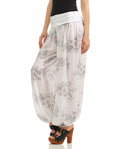 44 Aladdin Zarmexx Summer Pants 38 Casual Pumps Zumba Pantalones Yoga Ladies bianco Trousers taille Harem Unique Fiore Cq6nH8q