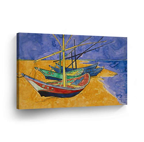 Vincent Van Gogh Fishing Boats on The Beach at Saintes-Maries Watercolor Canvas Print Decorative Art Wall Décor Wrapped Wood Stretcher Bars - Ready to Hang -%100 Handmade in The USA - 8x12