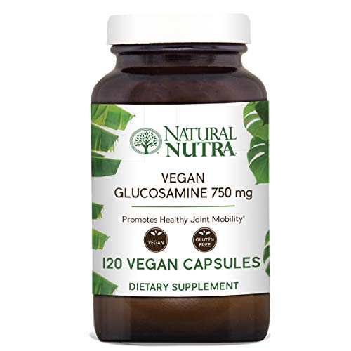(Natural Nutra Vegan and Vegetarian Glucosamine Hydrochloride, Kosher, Shellfish Free, Plant Based, Collagen, Joint and Cartilage Support Supplement, 750mg, 120 Capsules)