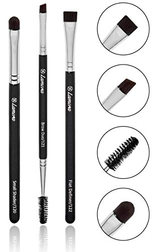 Eyebrow Brush - Duo Eye Brow Spoolie - Angled Eyeshadow Eyeliner - Precision Flat Definer - Small Shader - Premium Quality 3 Piece Set - Cruelty Free Synthetic Bristles - Apply Gel Powder Wax Pomade
