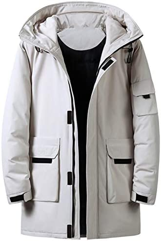 Mens White Duck Down Hooded Down Jacket Classic Warm Medium and Long Section Down JacketWhiteXL / Mens White Duck Down Hooded Down Jacket Classic Warm Medium and Long Section Down JacketWhiteXL