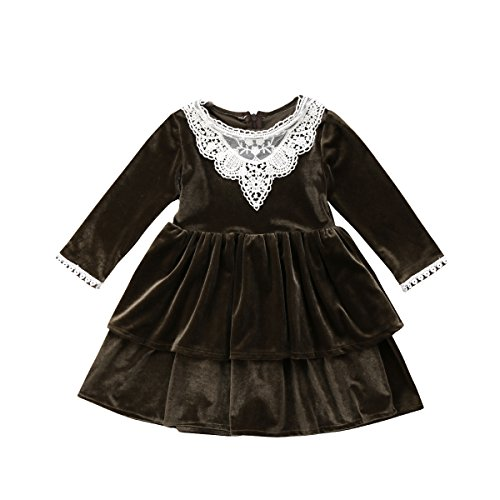 Bowant Toddler Baby Girls Vintage Velvet Casual Princess Dress Party Dress With Lace Decoration (1-2 Years)