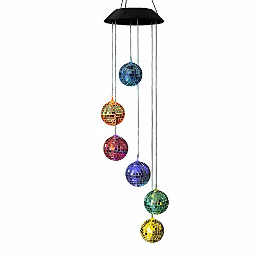 AceList Disco Ball Wind Mobile Changing Color Solar Powered Light for Outdoor Patio