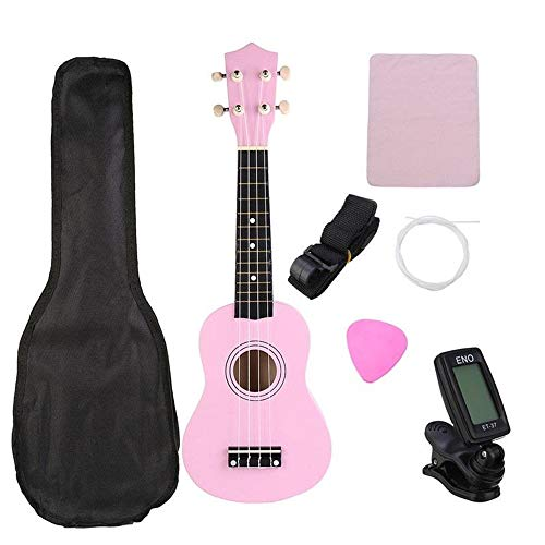 Guitar 21 Inches Treble UKE Hawaii Small Guitar Ukulele String Instrument Tuner Gigabit Bags (Color : Pink, Size : 53 x…