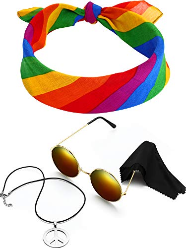 The Daily Sign This Is Halloween (3 Pieces Hippie Costume Set, Include Peace Sign Necklace, Headband, Sunglasses for Theme Parties (Style)