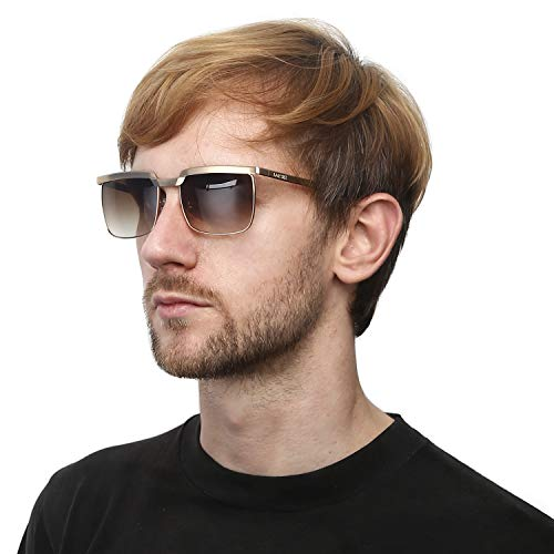 LORSEX Sunglasses for Men UV Protection Shades Vintage Retro Big Metal Frame Sun Glasses Driving Sport Fishing-59mm Gold