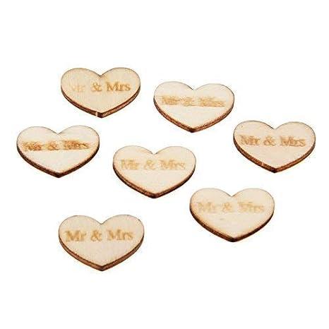 Yetaha 50Pcs DIY Wedding Confetti Table Scatter Wood Love Hearts Rustic Wedding Decor
