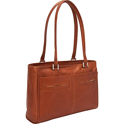 Love Tote Leather - Piel Leather Ladies Laptop Tote with Pockets, Saddle