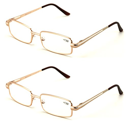 Men Metal Rectangle Reading Glasses - Blue AR Coating - Reduce fatigue, strain, & dry eye from computer usage. (Gold, - Glasses Gold Rectangle