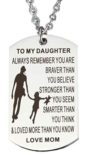 To Daughter From Mom Dog Tag Necklace Military Mens Girl Jewelry