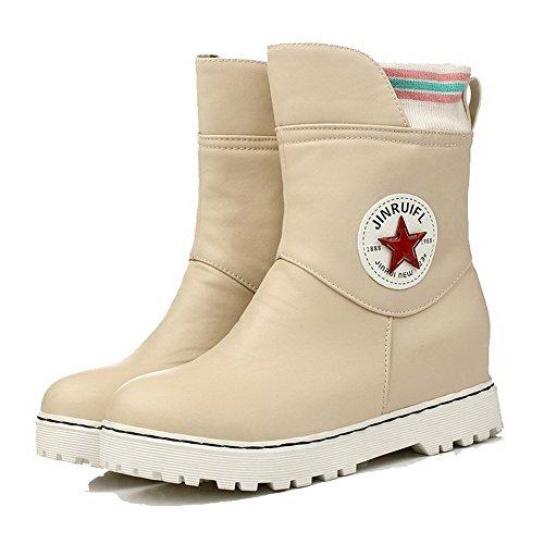 AllhqFashion Rund Damen Stiefel Cremefarben Gemischte Zehe Ziehen Materialien auf Farbe Blend UASrwU