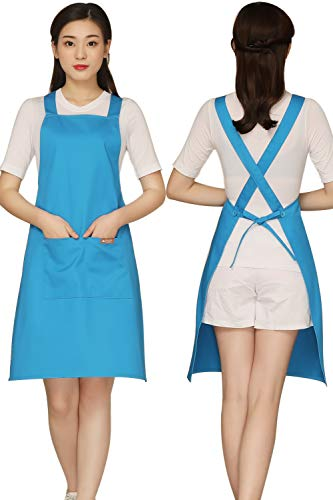 Cross Back Blue Aprons with 2 Pockets Cotton for Women,Cooker,Adult,Butcher Fits for Grill,BBQ,Painting Blue