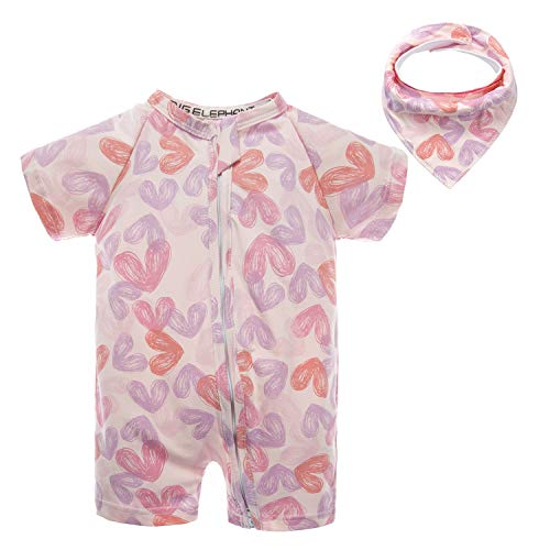 - BIG ELEPHANT Baby Girls'2 Piece Summer Short Sleeve Pajama Graphic Zipper Romper with Bib